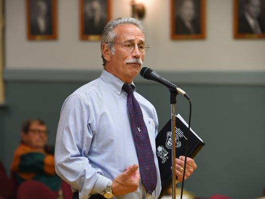 Saddle River resident  Dean Cerf speaks about his concerns