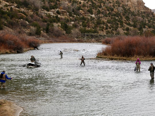Fishing enthusiast fish, Tuesday, March 29, 2016 at the Texas Hole on the San Juan River at the Community of Navajo Dam.