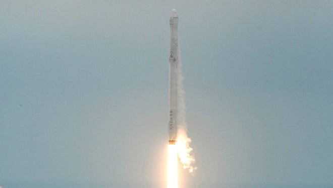 The SpaceX Falcon 9 rocket launched from Kennedy Space Center on Sunday, Feb. 19, 2017, en route to the International Space Station. The Dragon cargo ship was scheduled to dock with the space station Wednesday, Feb. 22, 2017, but it was pushed back to Thursday, Feb. 23, 2017.