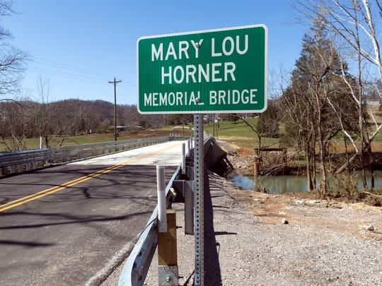 The Mary Lou Horner Memorial Bridge on Pedigo Rd. in Powell spans over Bull Run Creek. The bridge was dedicated to Horner in a ceremony on Thursday, March 22, 2018.