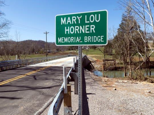 The Mary Lou Horner Memorial Bridge on Pedigo Rd. in