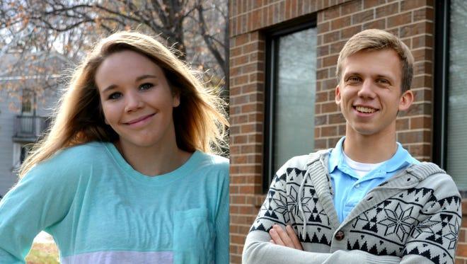 Olivia Fugate (left) and Vitaliy Lukyanov )right) of Bay City Christian School.