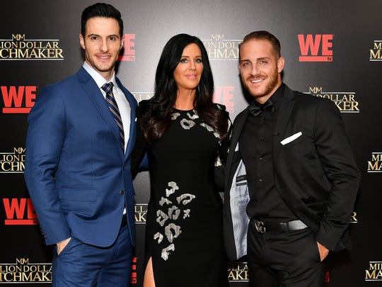 """Million Dollar Matchmaker"" host Patti Stanger stands between   Daniel Maguire and Vinny Ventiera, both whom appear on the show as clients, at WE tv's exclusive premiere of  Season 2 at the Whitby Hotel on August 2, 2017 in New York City."