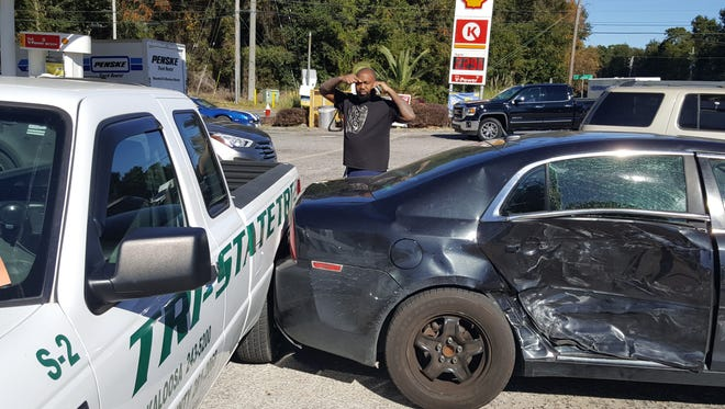 """The Florida Highway Patrol is looking for a driver who is accused ofstrikingtwo cars and fleeing the scene on Monday afternoon at State Road 290 and Ramsgate Drive. Police believe the suspect, a black man named """"J.R.,"""" is pictured in this image."""