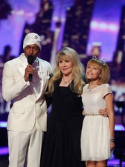 "AMERICA'S GOT TALENT -- ""Live Finale Results"" Episode 1123 -- Pictured: (l-r) Nick Cannon, Stevie Nicks, Grace VanderWaal -- (Photo by: Trae Patton/NBC/NBCU Photo Bank)"