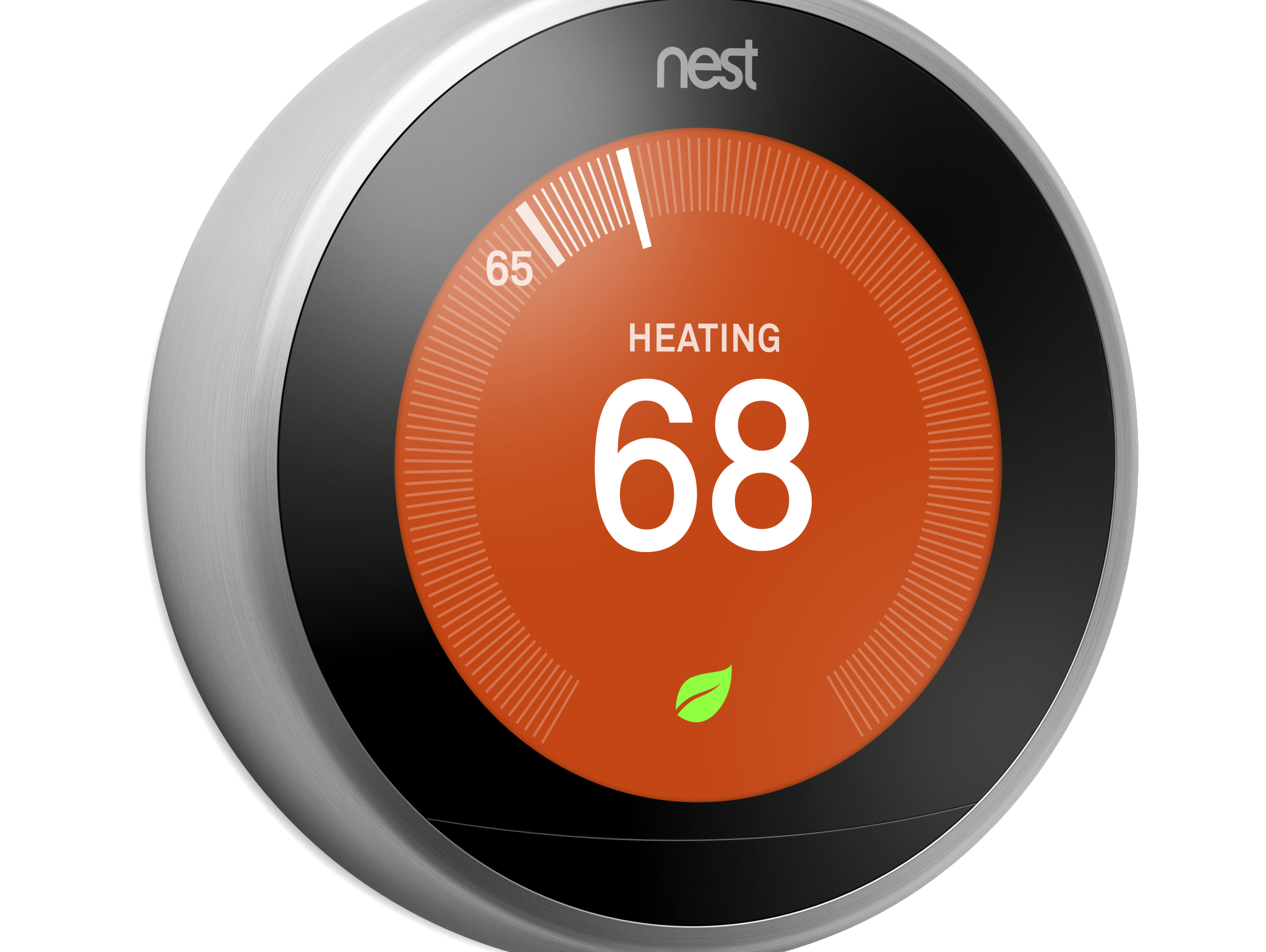 The third generation Nest Learning Thermostat features a larger and more high-resolution screen.