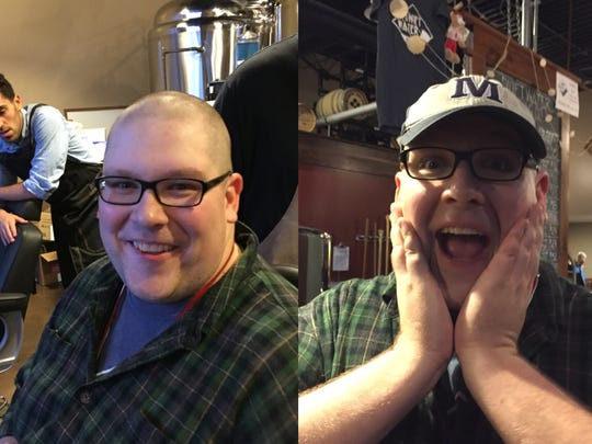 Reporter Will Cleveland's before-and-after photos after getting his closest shave ever from barber Mike Bauman Tuesday at Swiftwater Brewing.