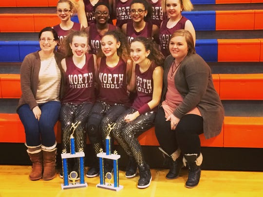 North Middle's dance team consists of: Cyanna Lee, Natalie Yates, Maggie Johnson, Adasha Waggener, Scotlyn Vaughn, Francis McGuire, Addie Sager, Abbie Roberson, Jessica Willet and Brooklyn Moss. Coaches: Sarah Stoner and Shelby Stoner.