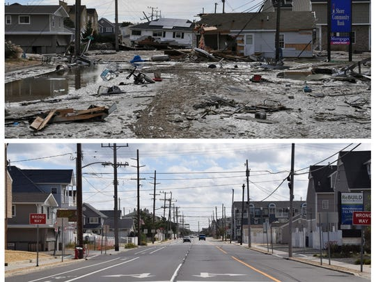 Route 35 on Oct. 30, 2012, the day after superstorm Sandy (top), and what the same area looks like today.