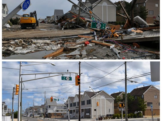 Route 35 in Ortley Beach on Oct. 30, 2012, the day after superstorm Sandy (top), and the same area as it looks today