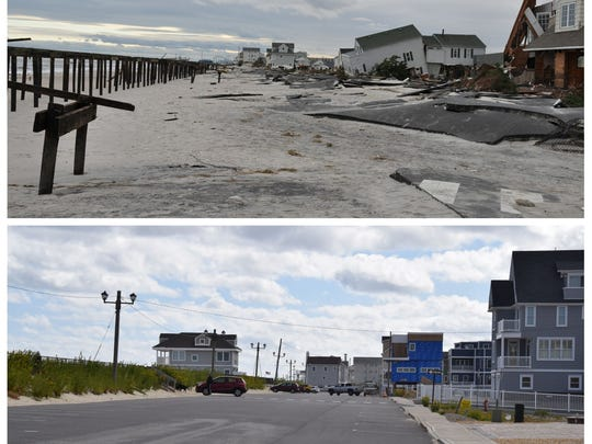 Ocean Terrace in Ortley Beach on Oct. 30, 2012, the day after superstorm Sandy (top), and the same street as it looks today