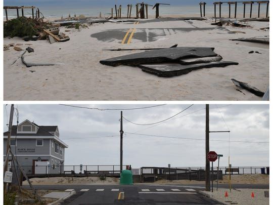 Looking east toward the Block House in Ortley Beach the day after superstorm Sandy, Oct. 30, 2012 (top) and that same view today