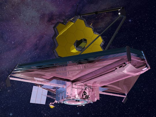 Artist rendering of NASA's James Webb Space Telescope in orbit, which is now expected to launch from South America around May 2020.