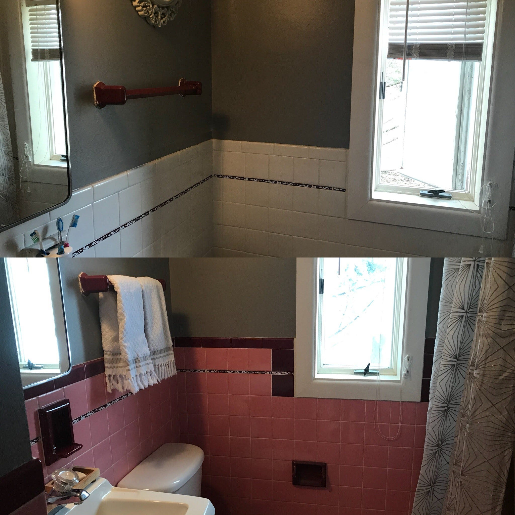 After And Before: The Mamie Pink Bathroom Tiles Have
