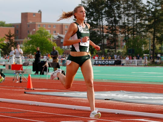 MSU's Leah O'Connor wins the 3000 meter steeplechase during the Big Ten championships Saturday, May 16, 2015, in East Lansing, Mich.