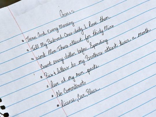 This is a handwritten note by Jamel Dunn -- goals that