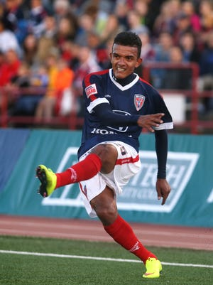 Indy Eleven midfielder Osman Melgares is shown in action against the New York Cosmos during the team's home-opening 1-1 tie at IUPUI's Carroll Stadium in Indianapolis on Saturday, April 11, 2015.