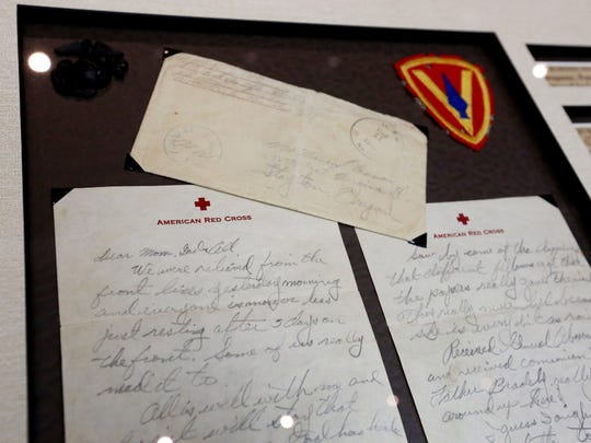 Among the military memorabilia donated to Marion County by the family of Marine Pfc. James J. O'Connor of Stayton are his last letter home and his shoulder patch from the 5th Marine Division.