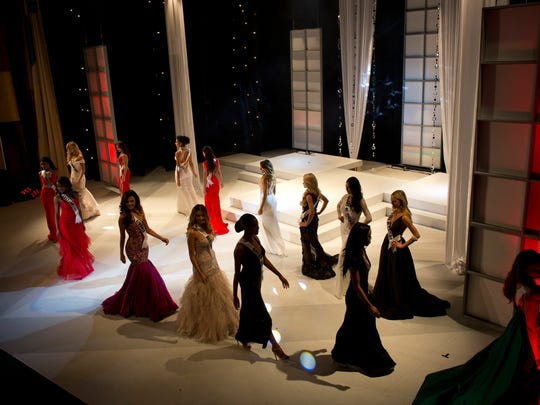 The top 15 finalists walk across the stage during the Miss Michigan USA pageant Saturday, September 26, 2015 at McMorran Auditorium in downtown Port Huron.