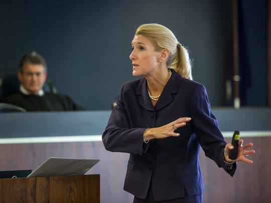 Senior Assistant Prosecuting Attorney Jennifer Deegan delivers closing arguments to the jury during the trial of Douglas Ball Jr. Tuesday, April 18, 2017 in the courtroom of Judge Michael West at the St. Clair County Courthouse.