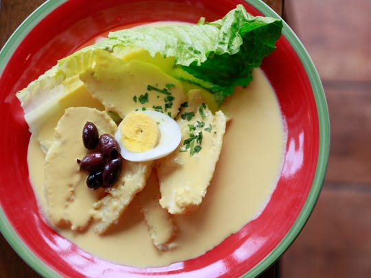 Papa a la Huancaina ($5.50) -- a dish of boiled yellow