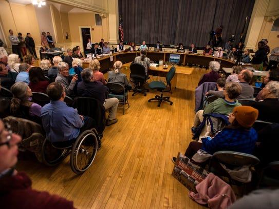 People pack Contois Auditorium for the Burlington City