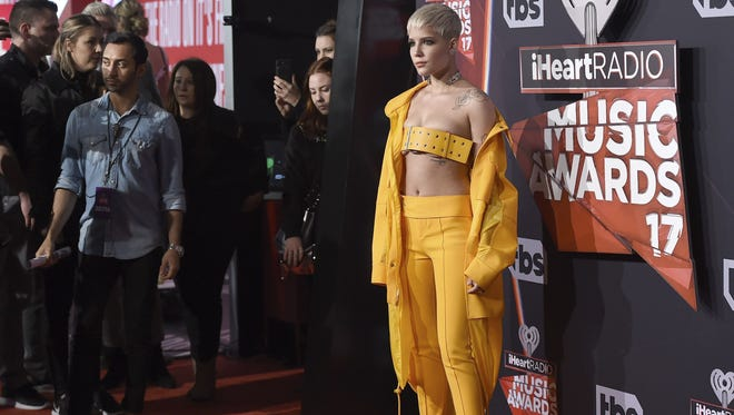 Halsey at the iHeartRadio Music Awards on March 5, 2017, in Inglewood, Calif., took the extreme crop-top trend to a new extreme by wearing a wide belt as a top.