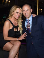 Adult film actress Stormy Daniels and her attorney
