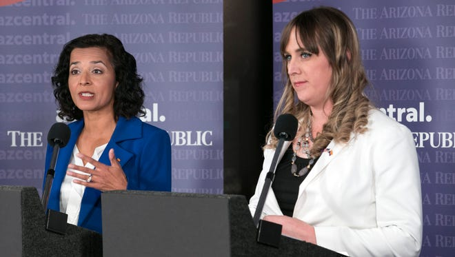 Hiral Tipirneni, a physician, and Brianna Westbrook, a political activist, debated in the azcentral news studio on Jan. 25, 2018.