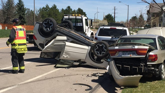 A Subaru ended up on its roof Thursday in north Fort Collins after its driver reportedly fell asleep and smashed into parked cars along Conifer Street.