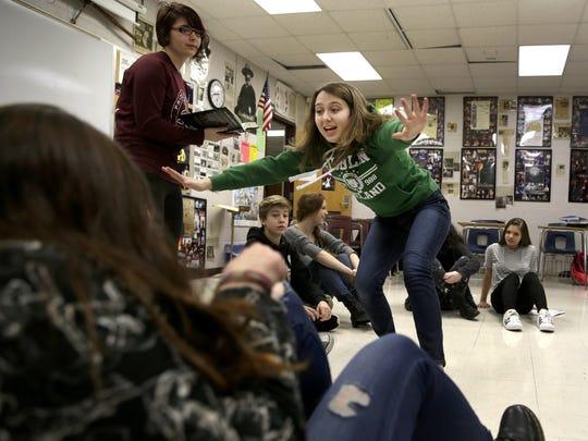 Jacie Jones surprises other student actors while rehearsing