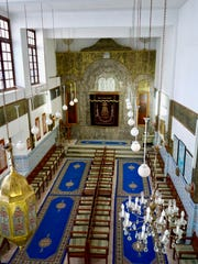 The interior of the Laazama Synagogue,  in Marrakesh, Morocco, founded in 1492. Jewish emigrants from Spain founded it, which is still in operation, though mainly for Jewish tourists