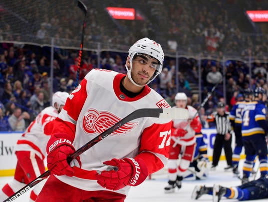 Andreas Athanasiou goal, Detroit Red Wings at St. Louis Blues