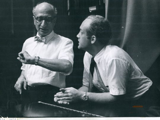 Concert pianist Lorin Hollander leans on his Baldwin concert grand piano with CSO music director Max Rudolf on the famous CSO World Tour of 1966.