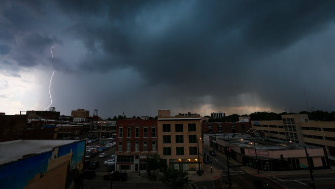 Lightning strikes south of downtown Springfield as storms rolled in late Tuesday afternoon.