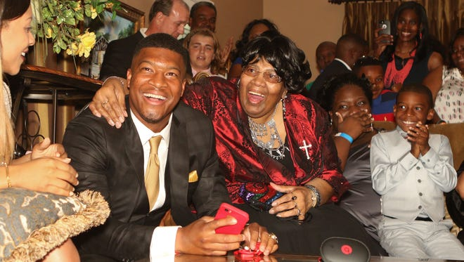 Jameis Winston of Florida State is selected as the No. 1 pick of the Tampa Bay Buccaneers  in the 2015 NFL draft. --
