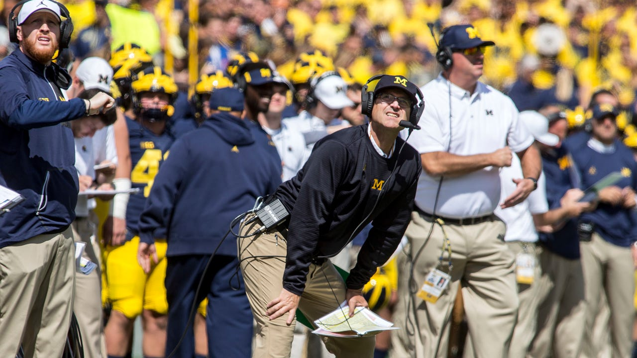 Jim Harbaugh discusses Michigan's 36-14 win over Cincinnati, says offense made mistakes and it needs to find rhythm Saturday, Sept. 9, 2017.