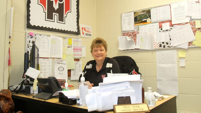 Mount Healthy High School athletic director Tina Tuck will retire on July 31, 2017 after more than three decades of service. Pictured on April 5, 2017.