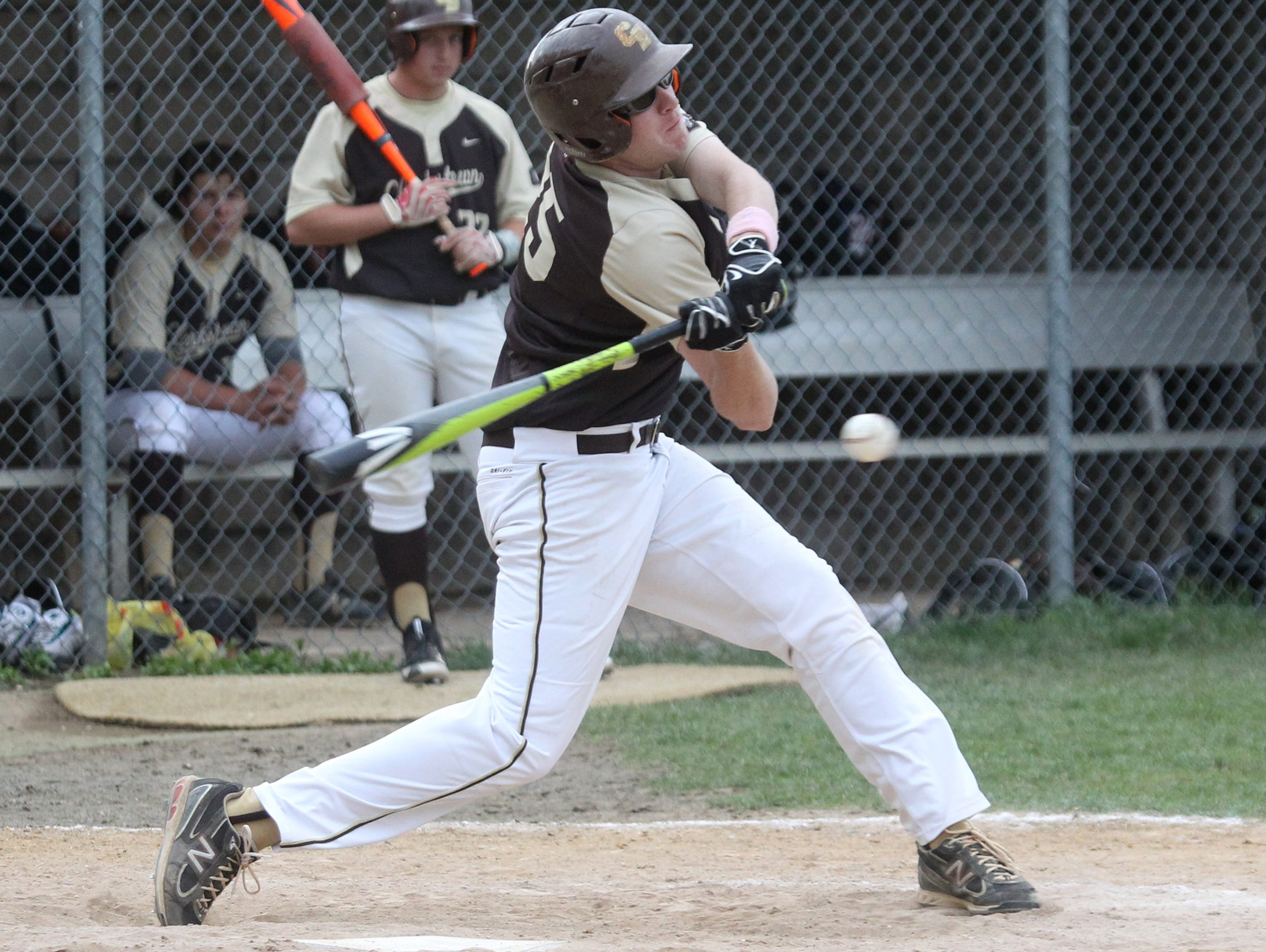Clarkstown South's Tommy Doherty drives in two runs with a double during Tuesday's 15-4 win over Clarkstown North at South.