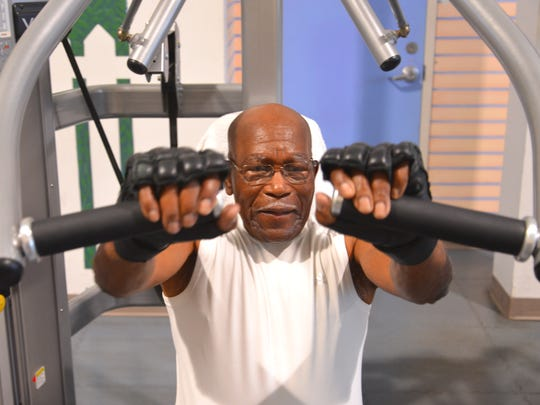 John J. Anderson of Cocoa Beach works out at the Health First Healthplex on Merritt Island three or four times a week. His regimen often includes attacking the speed bag and some upper body work on the machines.