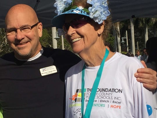 Doreen Johnston, 90, finished third in the Strides For Education 5K at Florida Southwestern College on Feb. 4, 2017.