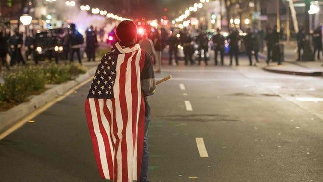 A protester in Oakland, California on Nov. 9, 2016.