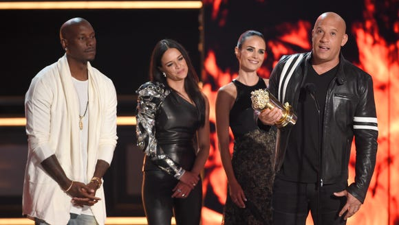Vin Diesel, right, with Tyrese Gibson, Michelle Rodriguez