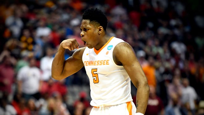 Tennessee forward Admiral Schofield (5) reacts during the NCAA Tournament second round game between Tennessee and Loyola-Chicago at American Airlines Center in Dallas, Texas, on Saturday, March 17, 2018.