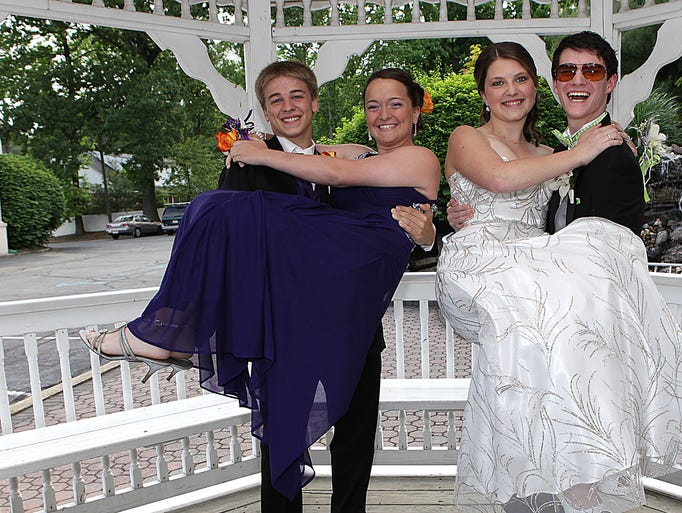 Joseph San Filippo, 17 with Alexandra Scucci, 18 and Nicholas Ordway, 20 with Briannah Larsen, 18 ham it up for the cameras at the Boonton HS Prom at the Grand Chalet, Thursday, May 29, 2019. Wayne, NJ. For the Daily Record/Karen Fucito MOR 0529 Boonton Prom