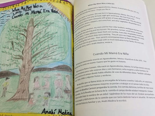 A sample page in the book shows the story in two languages