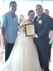 Freddie Jimena and Ernel Baloran were wed among family and friends by Sen. Joe S. San Agustin on April 8 at the Pacific Star Resort and Spa in Tumon.