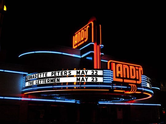 The Landis Theatre marquee is seen on Wednesday, April