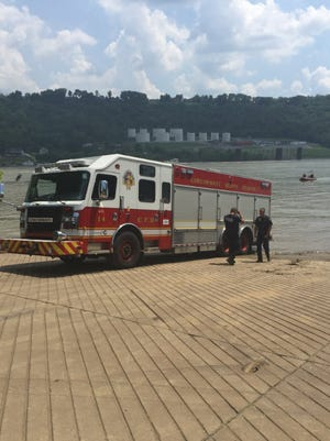 Cincinnati Fire Special Operations units respond to a boat fire on the Ohio River
