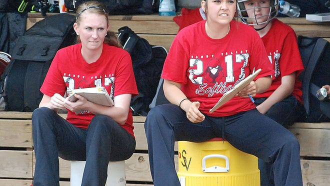 Sandy Valley Head Coach Cortney Geiger (right) and Assistant Coach Erica Wood (left) watch intently from the dugout during the Lady Cardinals regional final against Wheelersburg.